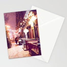 Winter Night with Snow in the East Village New York City Stationery Cards