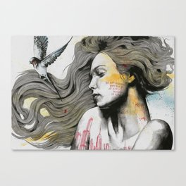 Monument (long hair girl with bird and skyline tattoo) Canvas Print