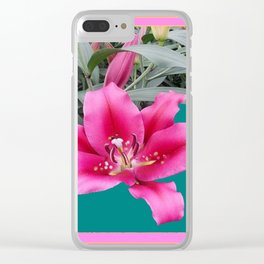 FUCHSIA PINK LILY TEAL ARTWORK Clear iPhone Case