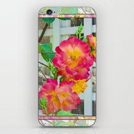TROPICANA ROSE ON WHITE LATTICE iPhone Skin