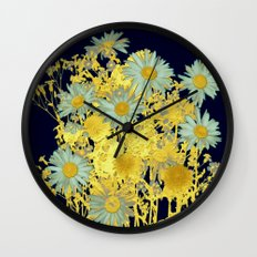 blue daisies and gold Wall Clock