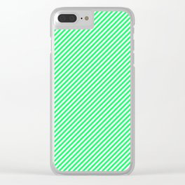 Mini Lanai Lime Green - Acid Green and White Candy Cane Stripe Clear iPhone Case