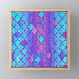 Moroccan Tile Pattern In Purple And Aqua Blue Framed Mini Art Print