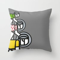 tour de france Throw Pillows featuring Peloton Tour De France by sonsofwolves