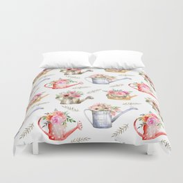 Garden watering cans and flowers. Vintage pattern Duvet Cover