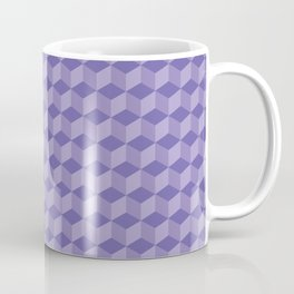 3D Optical Illusion: Purple Cube Pattern Coffee Mug