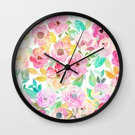 Classy watercolor hand paint floral design Wall Clock