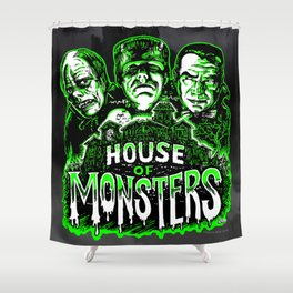 House of Monsters Phantom Frankenstein Dracula classic horror Shower Curtain