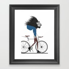 Hipster Lion and his Bicycle Framed Art Print