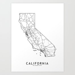 California White Map Art Print
