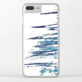 Streaky Blue Water Clear iPhone Case