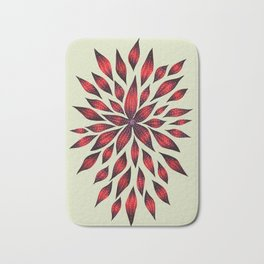 Abstract Red Flower Doodle Bath Mat