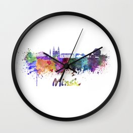 Minsk skyline in watercolor Wall Clock