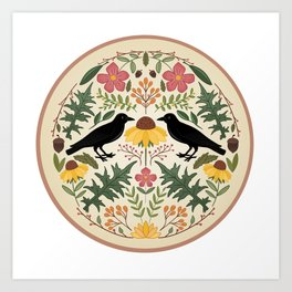Crows, Wild Roses, Thistles And Sunflowers Art Print