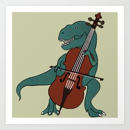 T-Rex Double Bass Art Print
