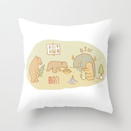 Candle making bears Throw Pillow