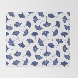 Blue Ginkgo Biloba Pattern Throw Blanket