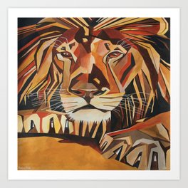 Lion Vector In Cubist Style Art Print
