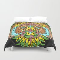 king Duvet Covers featuring King by M. Noelle Studios