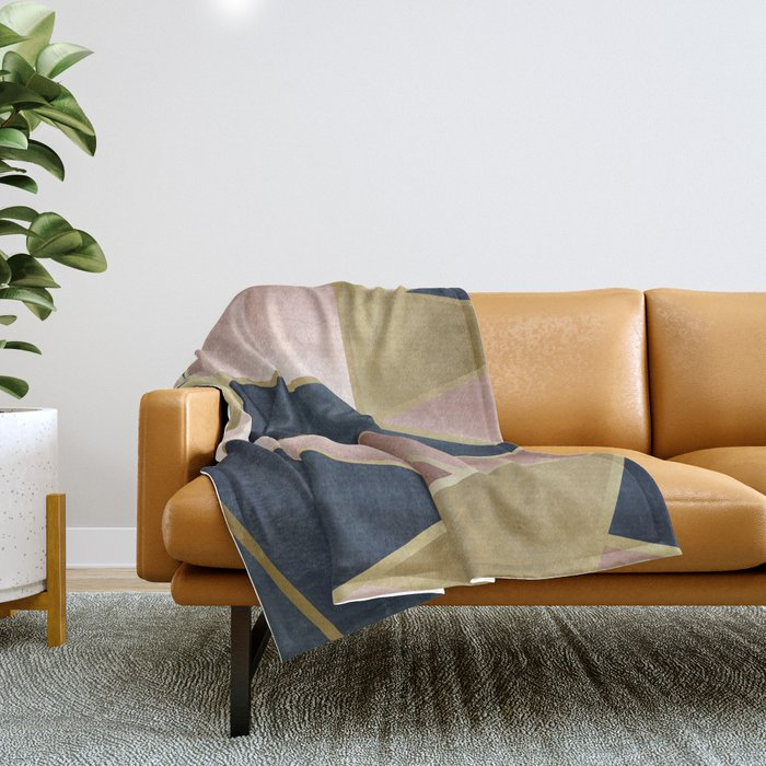 Rose Gold, Pink and Navy Blue Modern Geometric Pattern Throw Blanket