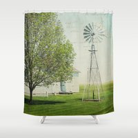 american beauty Shower Curtains featuring American Beauty Vol 19 by Farmhouse Chic