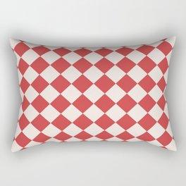 Red and White Checkered Diamond Pattern Rectangular Pillow