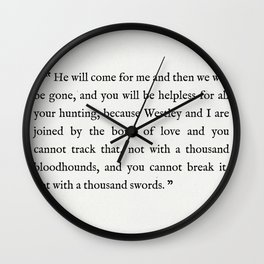 """Book Page - The Princess Bride """"The Bond of Love"""" Quote Wall Clock"""