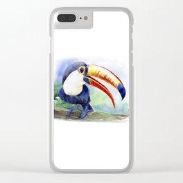 Toucan watercolor illustration, aquarelle art bird Clear iPhone Case