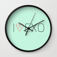 exo Wall Clocks featuring I LOVE EXO by 1004.store
