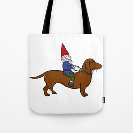 Gnome Riding a Dachshund Tote Bag