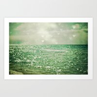 aqua Art Prints featuring Sea of Happiness by Olivia Joy StClaire