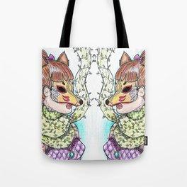 Girl Kitsune Tote Bag