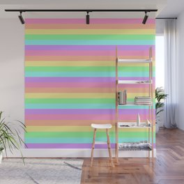 Pastel Rainbow Stripes Wall Mural