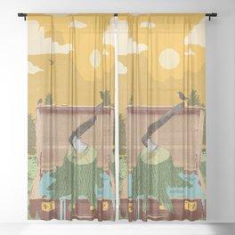TRAVELING STUMP Sheer Curtain