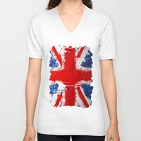 british flag V-neck T-shirts featuring BRITISH FLAG by Sophie