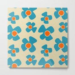New Flower Daisy Beige Blue Metal Print