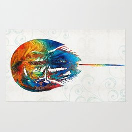 Colorful Horseshoe Crab Art by Sharon Cummings Rug