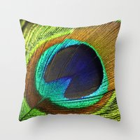 feathers Throw Pillows featuring feathers by mark ashkenazi