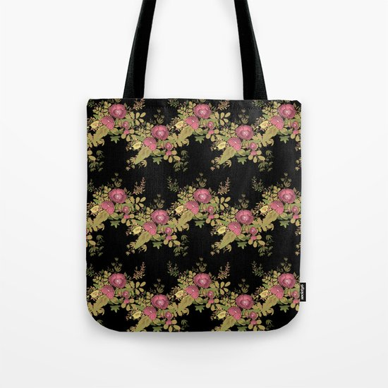 Colorful floral pattern on a black background . Tote Bag