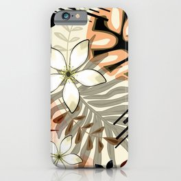 Palm and monstera leaves, stylish, fashionable tropical pattern. iPhone Case