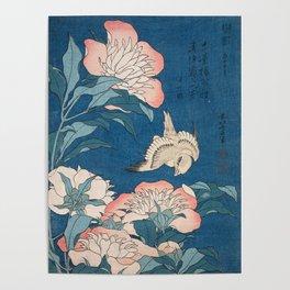 Katsushika Hokusai - Peonies and Canary, 1834 Poster