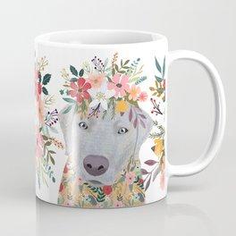 Silver Labrador with Flowers Coffee Mug
