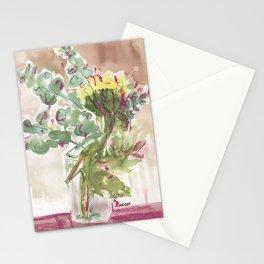 Sunflower with gum bush arrangement in vase Stationery Cards