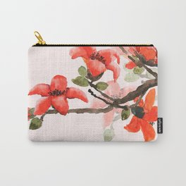 red orange kapok flowers watercolor Carry-All Pouch