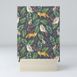 Fox, owl, rabbit Mini Art Print