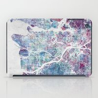 vancouver iPad Cases featuring Vancouver map by MapMapMaps.Watercolors
