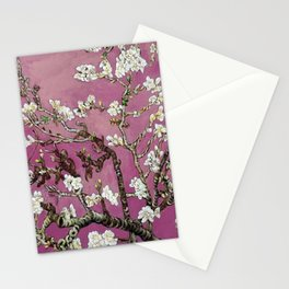 Vincent van Gogh Blossoming Almond Tree (Almond Blossoms) Fuchsia Sky Stationery Cards