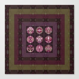 Red Shiso Positive Messages Quilt Art Canvas Print