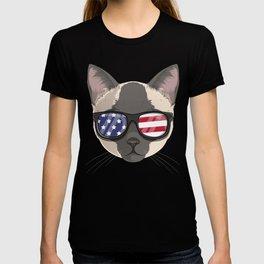 Patriotic Tonkinese Cat Kitty Merica American Flag T-shirt