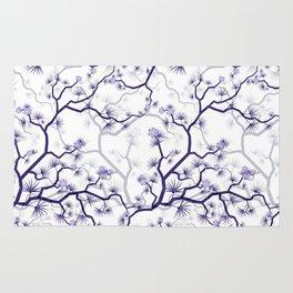 Abstract navy blue gray lavender floral illustration Rug